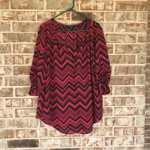 Expresso Geometric Wave Sheer Blouse